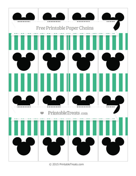 Free Mint Green Striped Mickey Mouse Paper Chains