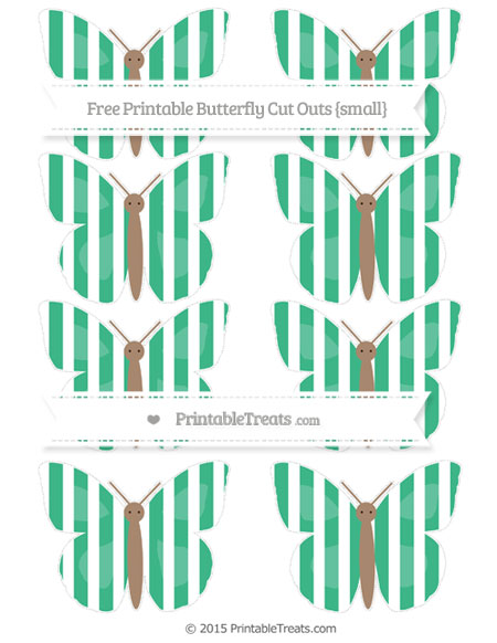 Free Mint Green Striped Small Butterfly Cut Outs