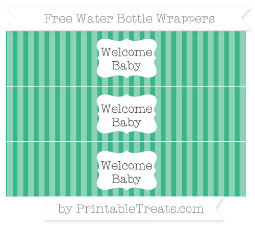 Free Mint Green Striped Welcome Baby Water Bottle Wrappers