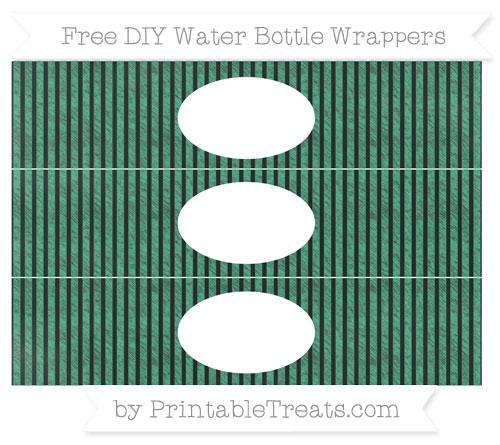 Free Mint Green Thin Striped Pattern Chalk Style DIY Water Bottle Wrappers