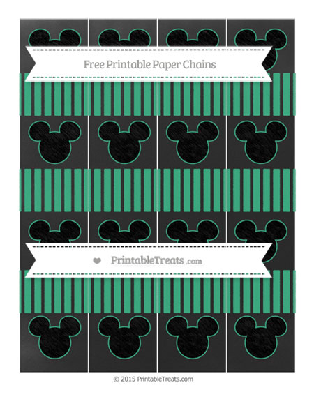 Free Mint Green Thin Striped Pattern Chalk Style Mickey Mouse Paper Chains