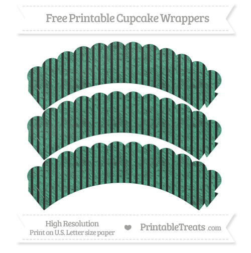 Free Mint Green Thin Striped Pattern Chalk Style Scalloped Cupcake Wrappers
