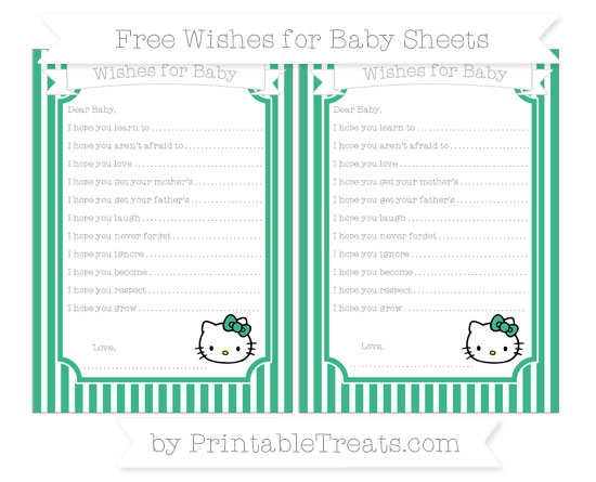 Free Mint Green Thin Striped Pattern Hello Kitty Wishes for Baby Sheets