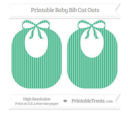 Free Mint Green Thin Striped Pattern Large Baby Bib Cut Outs