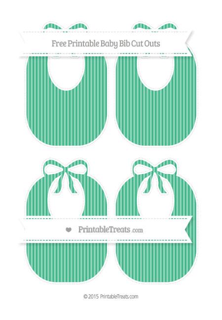 Free Mint Green Thin Striped Pattern Medium Baby Bib Cut Outs
