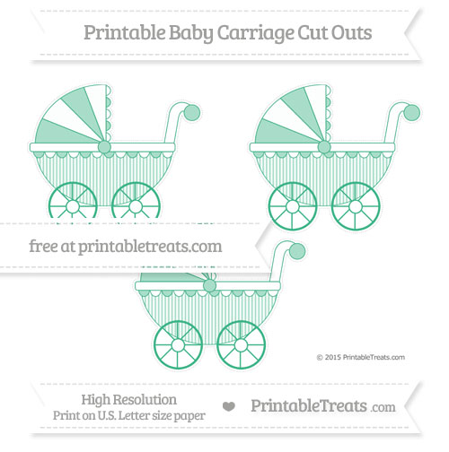 Free Mint Green Thin Striped Pattern Medium Baby Carriage Cut Outs