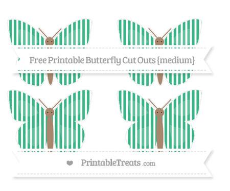 Free Mint Green Thin Striped Pattern Medium Butterfly Cut Outs