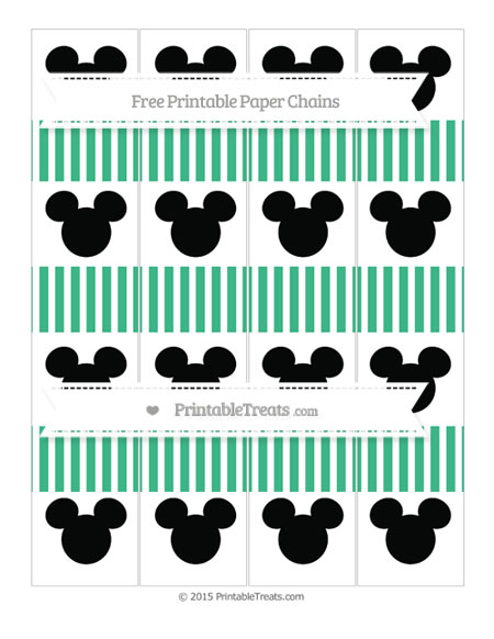 Free Mint Green Thin Striped Pattern Mickey Mouse Paper Chains