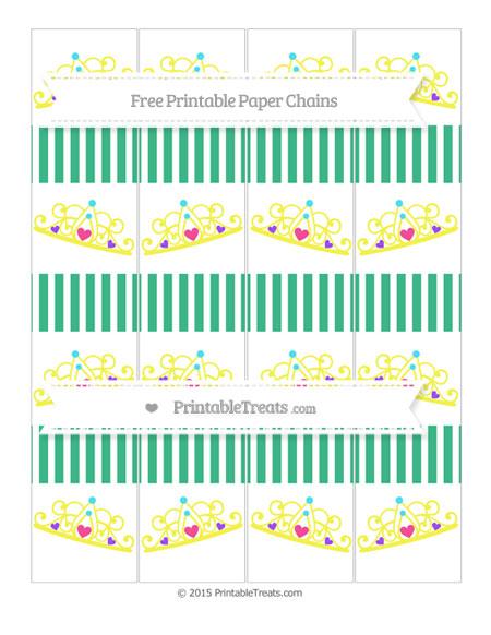 Free Mint Green Thin Striped Pattern Princess Tiara Paper Chains