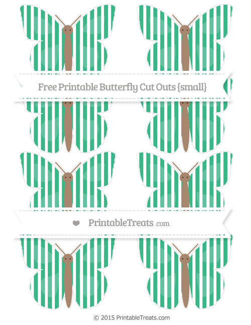 Free Mint Green Thin Striped Pattern Small Butterfly Cut Outs