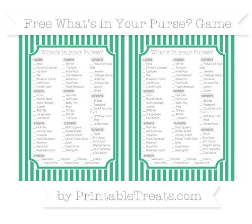 Free Mint Green Thin Striped Pattern What's in Your Purse Baby Shower Game