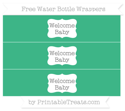 Free Mint Green Welcome Baby Water Bottle Wrappers