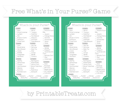 Free Mint Green What's in Your Purse Baby Shower Game