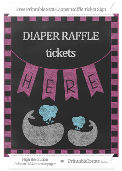 Free Mulberry Purple Checker Pattern Chalk Style Baby Whale 8x10 Diaper Raffle Ticket Sign