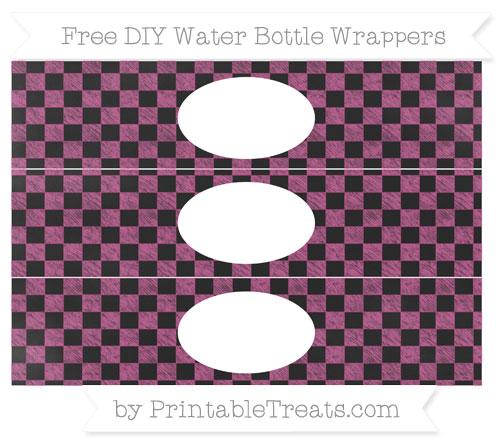 Free Mulberry Purple Checker Pattern Chalk Style DIY Water Bottle Wrappers