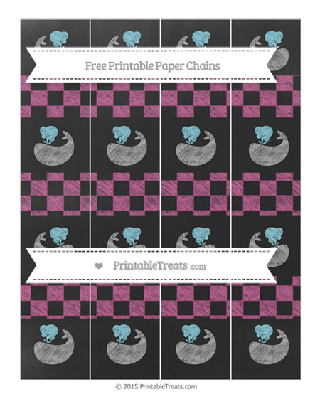 Free Mulberry Purple Checker Pattern Chalk Style Whale Paper Chains