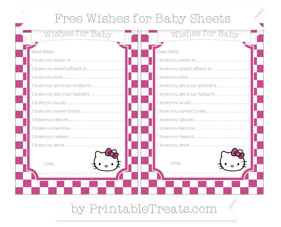 Free Mulberry Purple Checker Pattern Hello Kitty Wishes for Baby Sheets