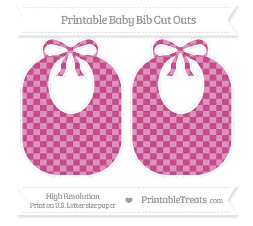 Free Mulberry Purple Checker Pattern Large Baby Bib Cut Outs
