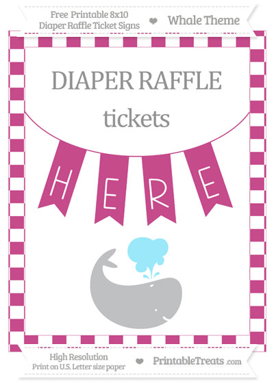 Free Mulberry Purple Checker Pattern Whale 8x10 Diaper Raffle Ticket Sign