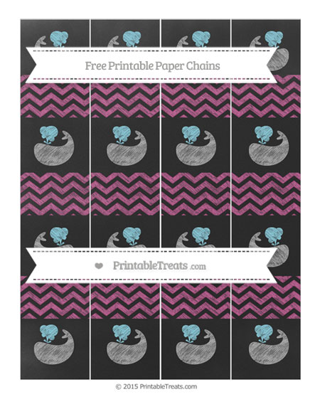 Free Mulberry Purple Chevron Chalk Style Whale Paper Chains