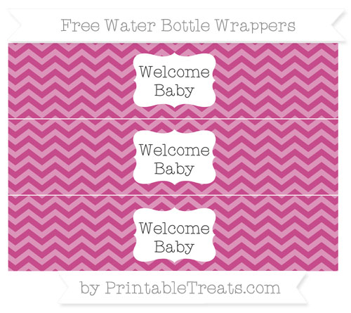 Free Mulberry Purple Chevron Welcome Baby Water Bottle Wrappers