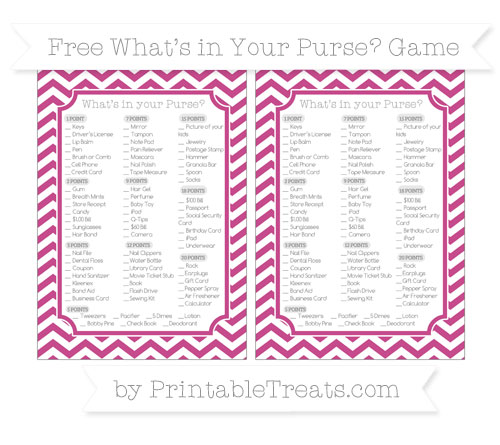 Free Mulberry Purple Chevron What's in Your Purse Baby Shower Game