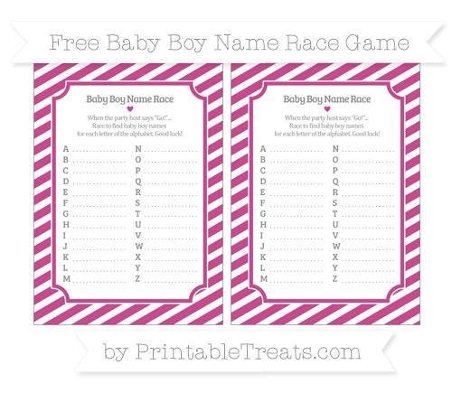 Free Mulberry Purple Diagonal Striped Baby Boy Name Race Game