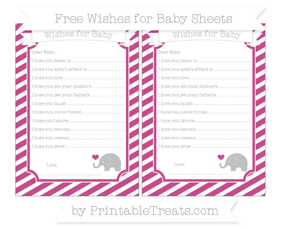 Free Mulberry Purple Diagonal Striped Baby Elephant Wishes for Baby Sheets