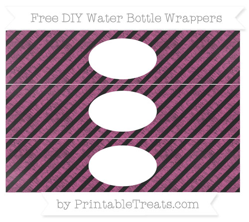 Free Mulberry Purple Diagonal Striped Chalk Style DIY Water Bottle Wrappers