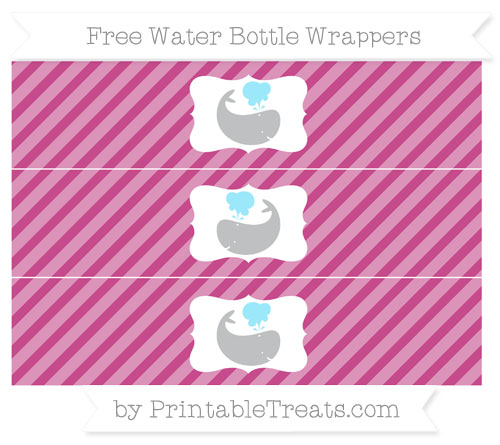 Free Mulberry Purple Diagonal Striped Whale Water Bottle Wrappers