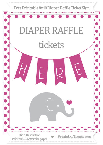 Free Mulberry Purple Dotted Baby Elephant 8x10 Diaper Raffle Ticket Sign