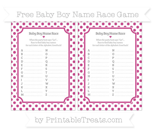 Free Mulberry Purple Dotted Pattern Baby Boy Name Race Game