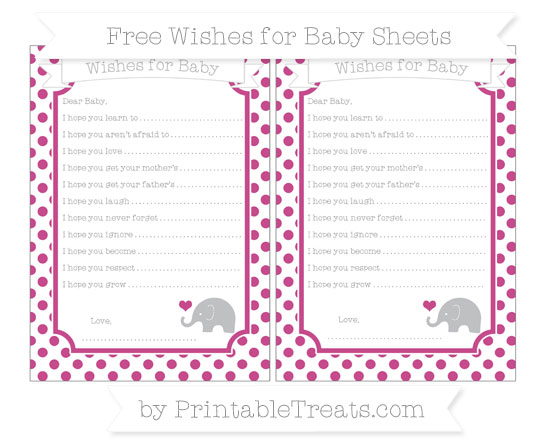 Free Mulberry Purple Dotted Pattern Baby Elephant Wishes for Baby Sheets