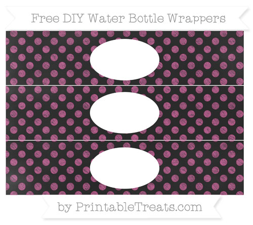 Free Mulberry Purple Dotted Pattern Chalk Style DIY Water Bottle Wrappers