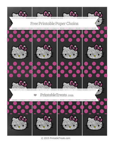 Free Mulberry Purple Dotted Pattern Chalk Style Hello Kitty Paper Chains