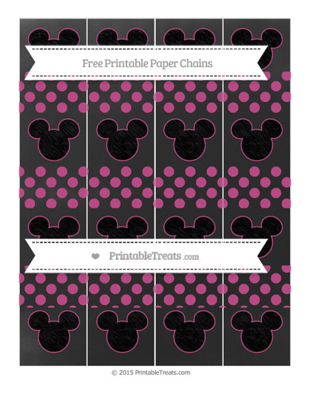 Free Mulberry Purple Dotted Pattern Chalk Style Mickey Mouse Paper Chains