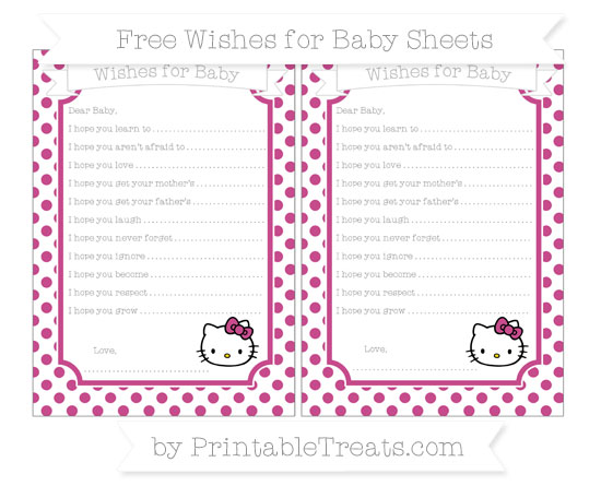 Free Mulberry Purple Dotted Pattern Hello Kitty Wishes for Baby Sheets