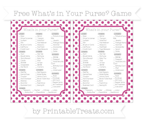 Free Mulberry Purple Dotted Pattern What's in Your Purse Baby Shower Game