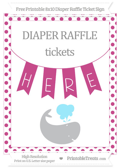 Free Mulberry Purple Dotted Whale 8x10 Diaper Raffle Ticket Sign