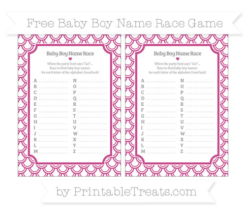 Free Mulberry Purple Fish Scale Pattern Baby Boy Name Race Game