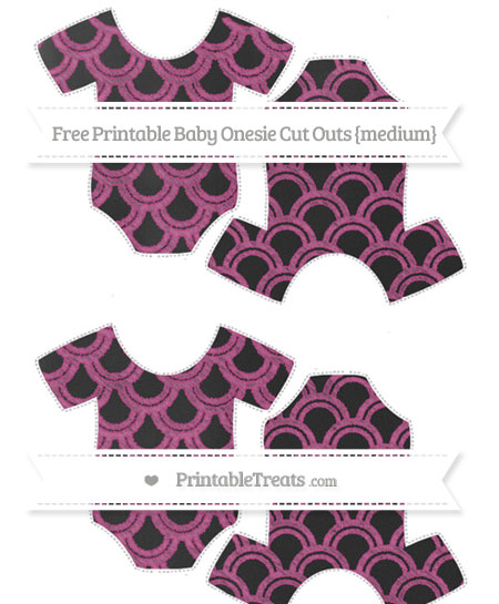 Free Mulberry Purple Fish Scale Pattern Chalk Style Medium Baby Onesie Cut Outs
