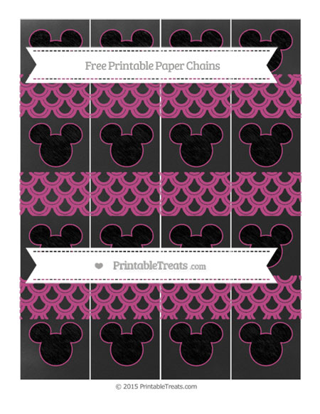 Free Mulberry Purple Fish Scale Pattern Chalk Style Mickey Mouse Paper Chains