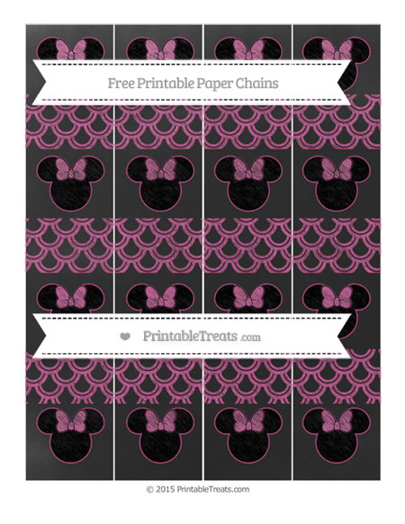 Free Mulberry Purple Fish Scale Pattern Chalk Style Minnie Mouse Paper Chains