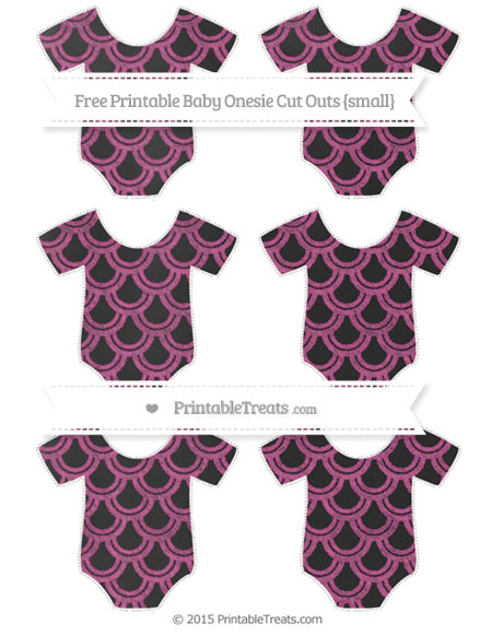 Free Mulberry Purple Fish Scale Pattern Chalk Style Small Baby Onesie Cut Outs