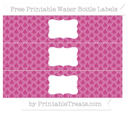 Free Mulberry Purple Fish Scale Pattern Water Bottle Labels