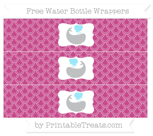 Free Mulberry Purple Fish Scale Pattern Whale Water Bottle Wrappers