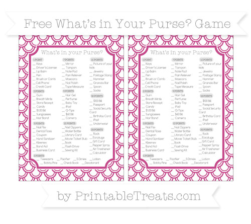 Free Mulberry Purple Fish Scale Pattern What's in Your Purse Baby Shower Game