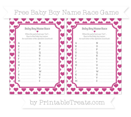 Free Mulberry Purple Heart Pattern Baby Boy Name Race Game