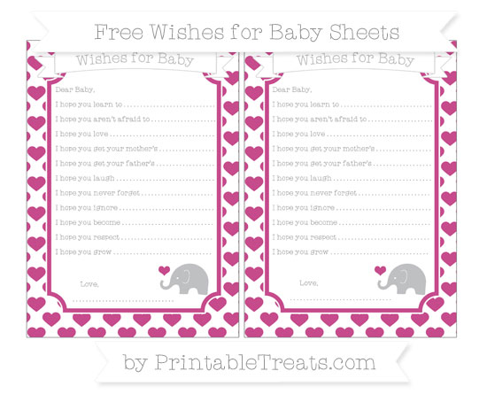 Free Mulberry Purple Heart Pattern Baby Elephant Wishes for Baby Sheets
