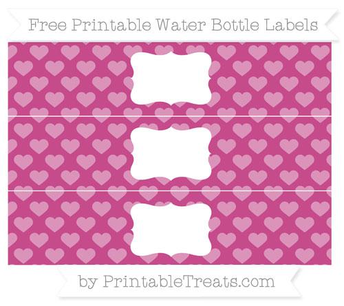 Free Mulberry Purple Heart Pattern Water Bottle Labels